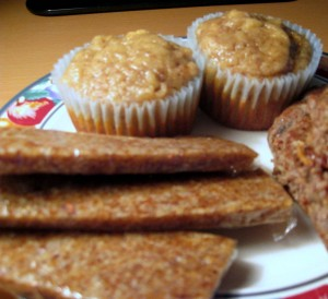 Travel food nut bars made with dates, honey and nuts, apple banana almond muffins, and cold hamburger patties with diced mushrooms to soften them up.-001